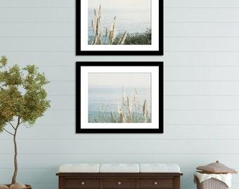 Two Picture Set, 2 Photographs, Coastal Photography Set, Large Blue Wall Art Set, Pastel Ocean Photograph, Beach House Wall Decor