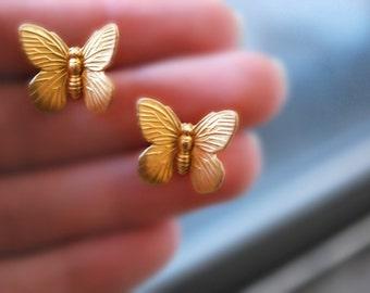 Butterfly Earrings -- Butterfly Studs, Gold Butterfly Earrings, Lucky Butterfly