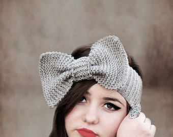 Hand Knitted Bow Headband in Taupe, Ear Warmer, Fall Hair Band, Knit Fashion Accessory, Cozy, Wide Bow Ear Warmer, Accessory, Gifts For Her