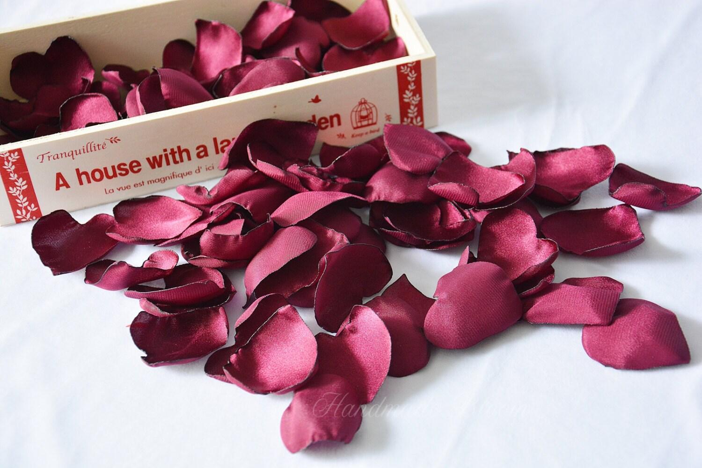 Wedding Table Silk Rose Petals burgundy satin rose petals maroon wine silk petals