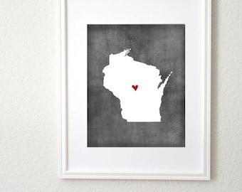 Wisconsin Chalkboard State Map Customizable Personalized Map Art 8x10 Print