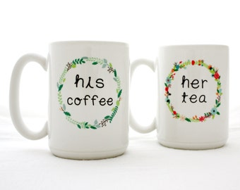 His and Her Gift. His Coffee and Her Tea. Ceramic Mug Set for a couples gift idea.