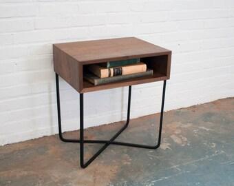 Nightstand - Solid Walnut Wood Steel or Brass Base
