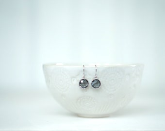 Silver and Grey Gem Circle Earrings