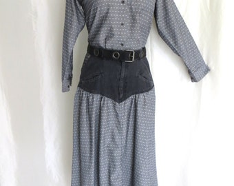 Vintage 70s womens two piece outfit, skirt blouse set, black denim, black white grey, country western, cowgirl, square dance