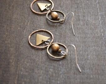 Geometric Hoop Earrings Hammered Earrings Geometric Triangle Jewelry Mixed Metal Earrings Sacred Geometry Hammered Jewelry Triangle Earrings