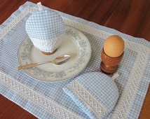 Australian Cross Stitch Embroidery, Egg Cosy and Table Mat Pattern, Instant download, Gingham embroidery pattern, Chicken Scratch pattern