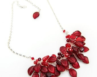 Red Nature Inspired Beaded Bib Necklace,  Red Leaf Necklace, Red Nature Bridal Jewelry, Red Cluster Necklace, Twisted Wire Jewelry