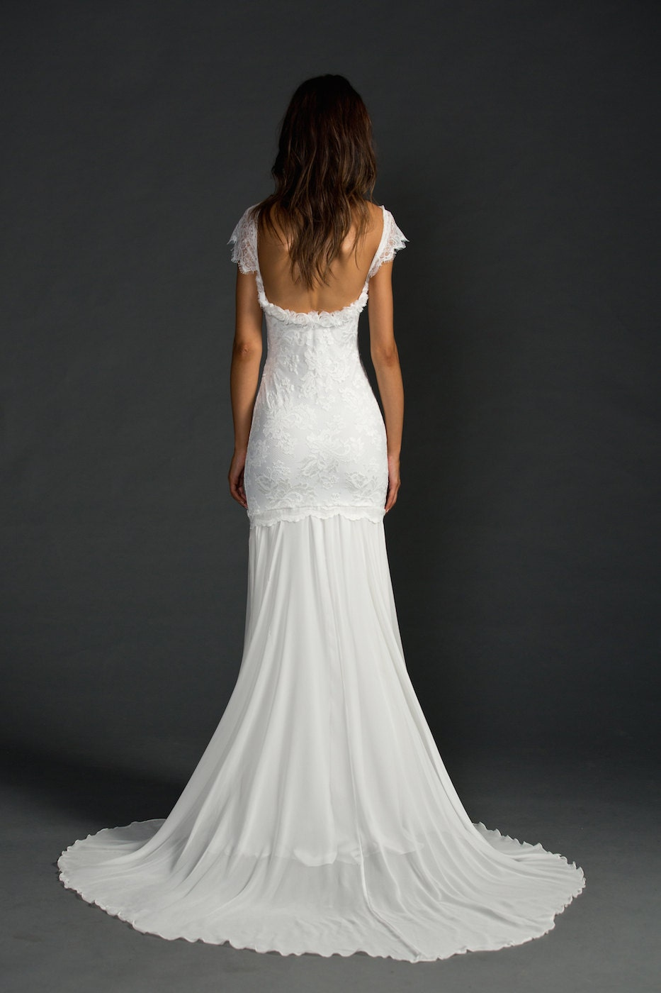 French Lace Low Back Wedding Dress Stunning Low Back Lace Wedding