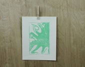 Octopus Linocut Print, Unframed