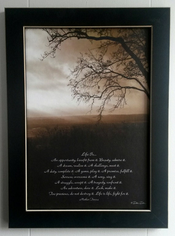 Life Is Poem by Mother Teresa Framed Picture