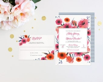 Wedding Invitations Modern Tropic Floral Elegant Luxury Bold Classic Unique Calligraphy Destination Beach Affordable Canvas Striped