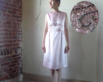 pink satin beaded midi/ vintage 50s formal dress// small