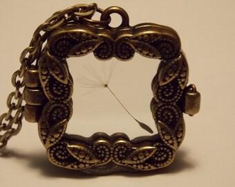 Bronze Dandelion Shadowbox Necklace