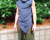 Pointy Top, organic hemp, men's vest, men's sleeveless, collar, Harmonic threads