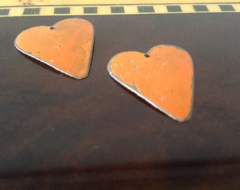 On Sale 2 Orange Heart Charm Pendants- Collectables-Findings/Jewelry Supplies