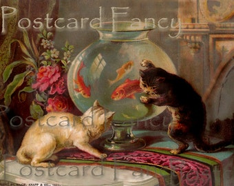 ADORABLE Two Cats and Fishbowl VINTAGE Trade Card, INSTANT Digital Download
