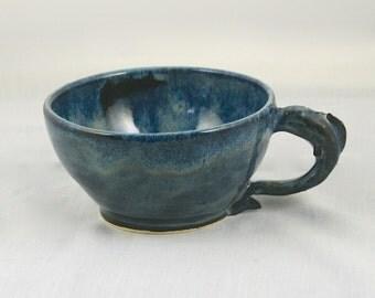 Handmade Fish Soup Mug, Fish Coffee Mug,  Hand thrown Stoneware Pottery Mug, Father's Day Gift, Men's Gift, Fish Decor