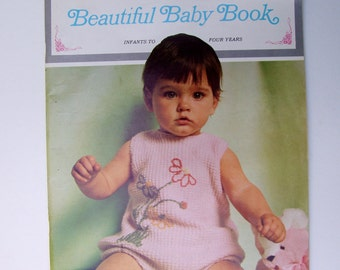 Vintage Crochet Knit for Infants-Four Years . Knitting Crocheting Patterns . Soft Cover Booklet . Columbia Minerva Beautiful Baby Book