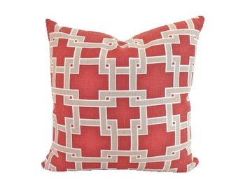 Designer City Square Red and Tan Pillow Cover in Thom Filicia for Kravet Fabric