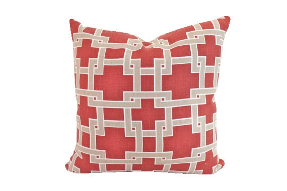 Designer City Square Red and Tan Pillow Cover in Thom Filicia Fabric-