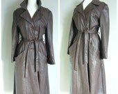 Vintage BROWN LEATHER TRENCH Coat/size Small-Medium