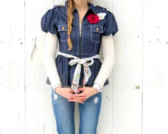 Womens jean jacket , Upcycled jean Jacket - Romantic Denim Womens Zip Top- size small Shabby Chic clothing - Flower Belt -hippie chic