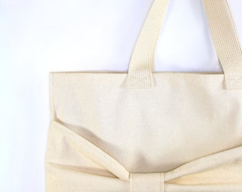 Bow Tote Bag, Chic Modern Handbag, Cute Handmade Purse, Stylish Grocery Sack, Plain, Simple, Reusable, and Unique