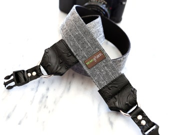 Essex Linen Camera Strap in Charcoal with Side Release Buckles -- 1.5 inches wide