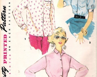 "Vintage 1954 Simplicity 4854 ""East To Make"" Misses Shirt Sewing Pattern Size 14 Bust 32"""