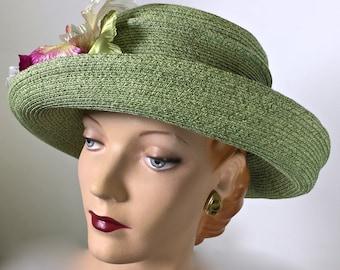 Kentucky Derby Green Straw Women's Hat, ONE OF A KIND Hat
