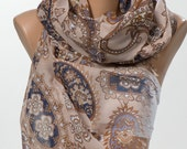 Beige and blue and brown Paisley Scarf. Valentine Neck wrap. Valentine's Scarf. Spring scarf for her. NEW SEASON.