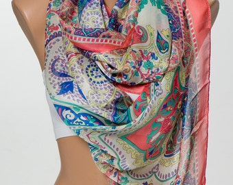 NEW Scarf or Shawl. Holiday scarf. Silky touch. Soft Spring Colors special silk scarf for women.