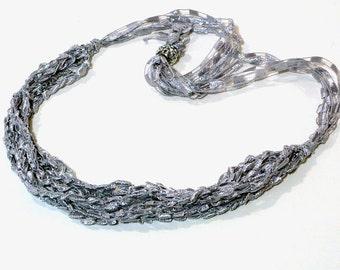 Silver Ladder Yarn Necklace: Handmade Necklace, Crochet Choker, Lariat Necklace, Gray Ribbon Necklace, Fiber Necklace, Ready to Ship