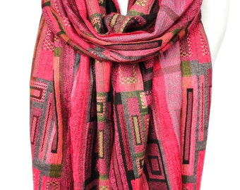 Pink Scarf. Geometric Pashmina Scarf. Colorful Fringe Scarf. Birthday Gift. Soft Winter Scarf. Velvet Gift. 13x70in (33x180cm) Ready2Ship
