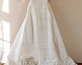 Antique Christening Gown 1888 Victorian pin tucks embroidery lace long damaged