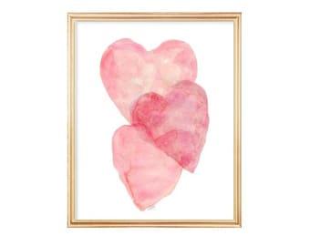 Blush Nursery Decor, Pink Nursery Art, 8x10 Watercolor Heart, Pink Heart Art, Pink Nursery Decor, Baby Girl's Room, Blush Wall Art, Pink Art
