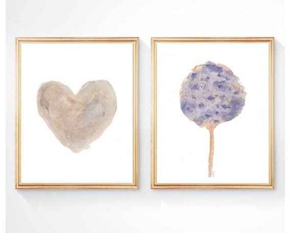 Hydrangea and Heart, Set of 2 - 8x10 Watercolor Prints for Natural Decor