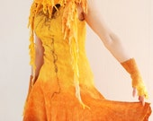 Felted yellow dress Gold yellow dress Full circle woman gown Sun yellow orange dress Wool silk dress - RESERVED FOR YANA