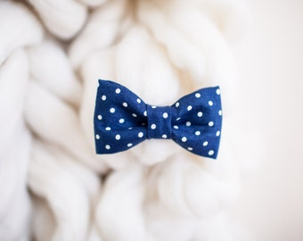 Bow Tie - Navy Blue with Dots Bow Tie - Baby Bow Tie - Toddler Bow Tie - Child Bow Tie