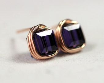Rose Gold Purple Stud Earrings Wire Wrapped Jewelry Handmade Rose Gold Earrings Swarovski Crystal Earrings Swarovski Crystal Jewelry