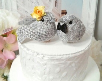 WOODLAND WEDDING      SMALL  wonderful rustic burlap yellow and Grey bird wedding cake topper or wedding anniversary