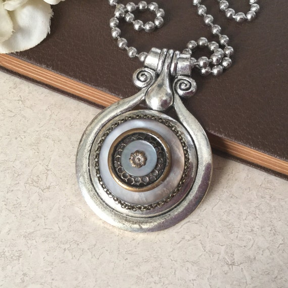 Mother Of Pearl Antique Button Necklace Large Pendant