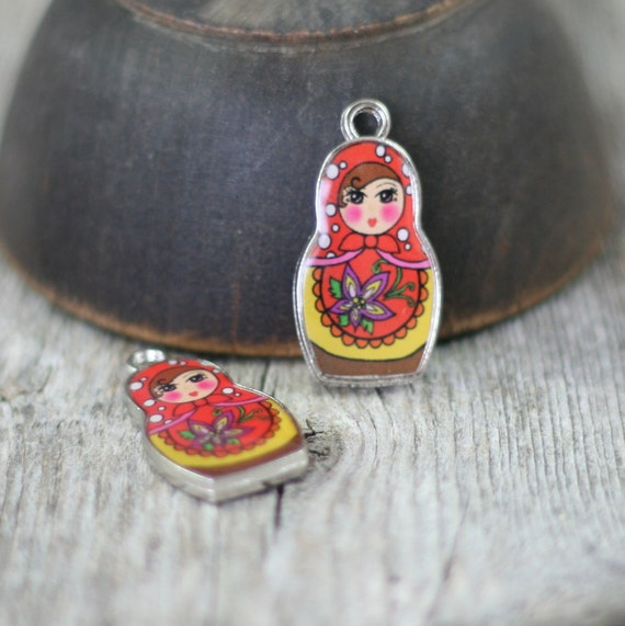 russian doll charm pendants enamel yellow by