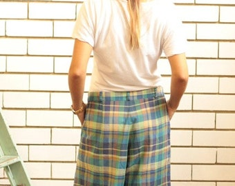 SALE WAS 17 - Vintage Skirtmaster Turqouise Plaid Shorts