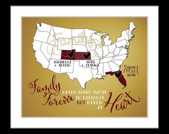 Personalized family print, world map state gift family, long distance family gift, print custom, friend, mom, daughter, gift from us