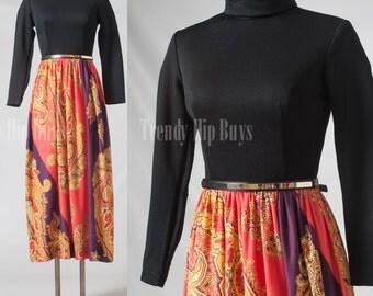 Vintage 60s maxi dress, Vintage Black dress, bohemian dress, hippie dress, boho dress - XS/S