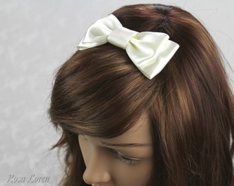 Ivory Hair Bow, Ivory Satin Bow Hair Clip, Ivory Wedding Accessories
