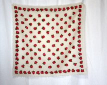 Vintage Wool scarf Russian neck / head  scarf  red roses against cream background unfinished edges ethnic GIFT FOR HER  20 by 21 inches