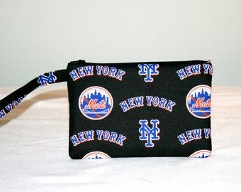 New York Mets Wristlet  Bag, Cell Phone Bag, Small Padded Tech Bag